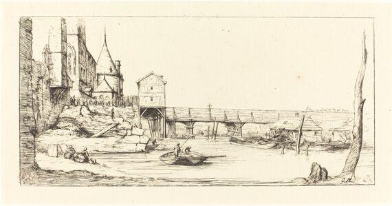 Charles Meryon after Stefano Della Bella, 'Passerelle du Pont-au-Change, Paris, après l'Incendie de 1621 (Footbridge Temporarily Replacing the Pont-au-Change, Paris, after the Fire of 1621)', 1860