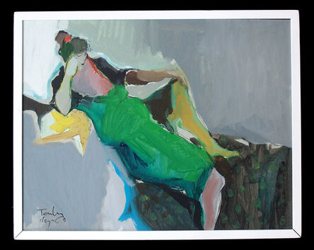 Itzchak Tarkay, 'Reclining Woman in Green Dress'