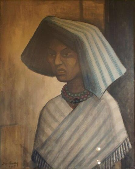 Diego Rivera, 'Portrait of Mexican Woman', 1947