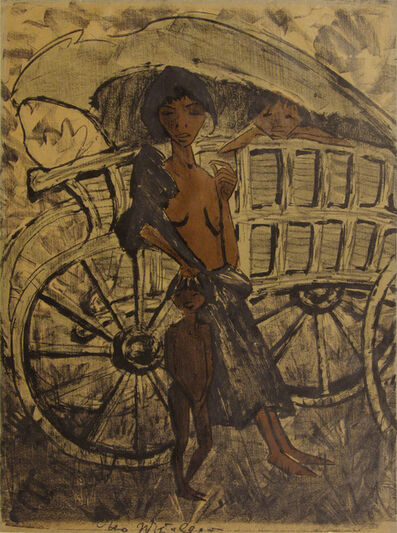 Otto Müller, 'Gypsy with Child in Front of Covered Wagon', 1926-1927