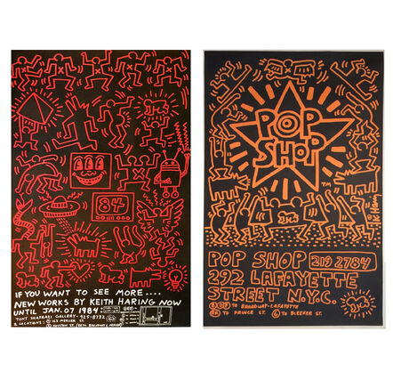 """Keith Haring, 'Two Poster Set: """"POP SHOP"""", 1985 & """"Keith Haring 84"""", Shafrazi Gallery, 1984, Street Past-Up Advertisement Posters', 1984-1985"""