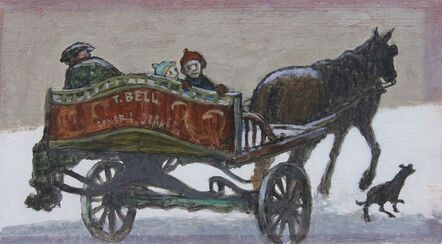 Norman Cornish, 'Catching a ride on horse and cart'