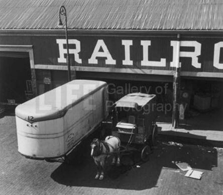 Andreas Feininger, 'Horse Drawn Wagon at Loading Platform, Port of New York', 1949