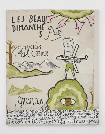 Rose Wylie, 'Green Man, homage to Retablos painting', 2020