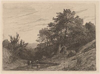 Alexandre Calame, 'Herd in a Stream', 1838