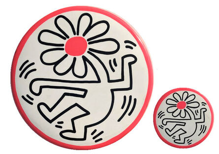 """Keith Haring, '2 PIECE SET- """"Dancing Flower"""", 4 & 9 in. Buttons, POP Shop NYC', 1989"""