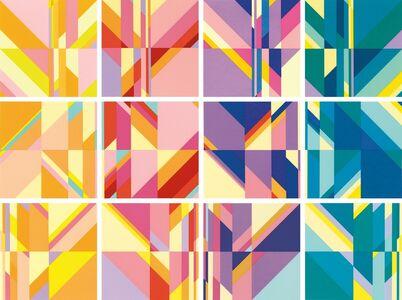 Kamal Boullata, 'Three Quartets (grid of 12)', 1993