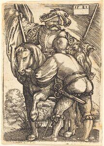 Barthel Beham, 'Riding Standard Bearer and Foot-Soldier', 1521