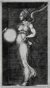 Giorgio Ghisi, 'Allegorical Figure, Holding a Ball', Mid 1560s