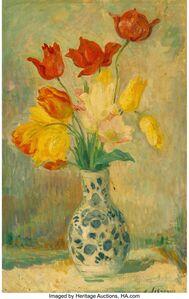 Henri Baptiste Lebasque, 'Tulips in a Delftware vase'
