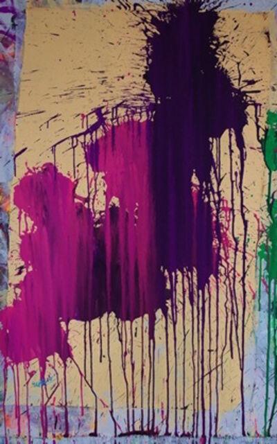Ushio Shinohara 篠原 有司男, 'Pink & Purple on Pastel Yellow', 2015