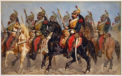 Theodore Fort, 'Battle, Knights on Horses', 1840s