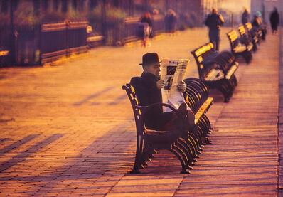 Mitchell Funk, 'Man Reading Paper Brooklyn Heights Promenade ', 1969