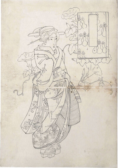 Keisai Eisen, 'Preparatory Drawing of a Standing Beauty with Blossoming Morning Glory Vines and an Untitled Cartouche in the Shape of an Illustrated Book', ca. 1830s