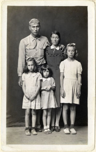 Mike Disfarmer, 'Louie and Alma Ramer with their daughters Lucille, Avonell, and Faye', ca. 1945