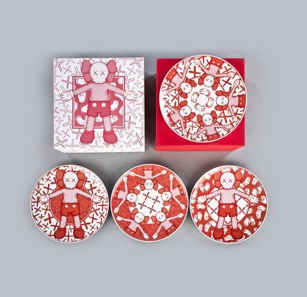 KAWS, 'Ceramic Plates (Red, Set of 4)', 2019