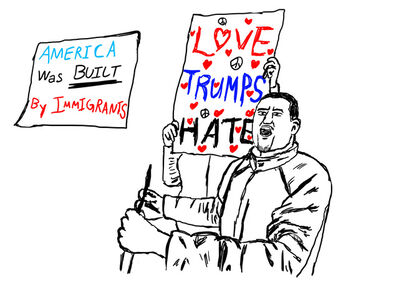 Ming Choi, 'Immigrant Protest Against Trump (Love Trumps Hate)', 2018