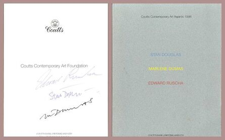 Ed Ruscha, 'Coutts Contemporary Art Awards (Hand Signed by Edward Ruscha, Marlene Dumas and Stan Douglas)', 1998