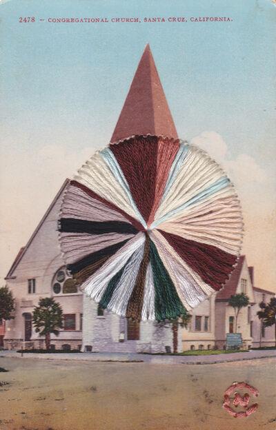 Natalie Ciccoricco, 'Santa Cruz Church - Embroidered Vintage Linen Postcard of Congregational church in California', 2019