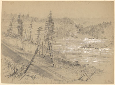 Alfred R. Waud, 'Railroad on the Dalles of the St. Louis', 1882