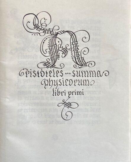 Juan Moreno Rodríguez, 'Aristóteles summa physicorum primi libri', 2013