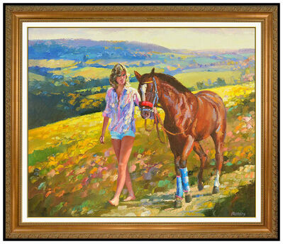 Howard Behrens, 'Howard Behrens Large Oil Painting On Canvas Horse Female Landscape Signed Framed', 20th Century