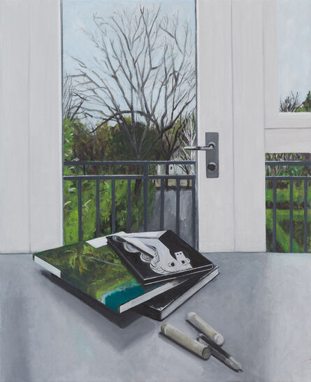 Ed Miliano, 'Still Life with Three Books, Two Oil Crayons and Two Tortillons', 2019