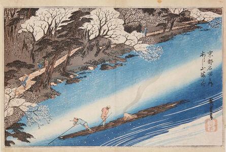Utagawa Hiroshige (Andō Hiroshige), 'Cherry Blossoms at Mt. Arashi', ca. 1834