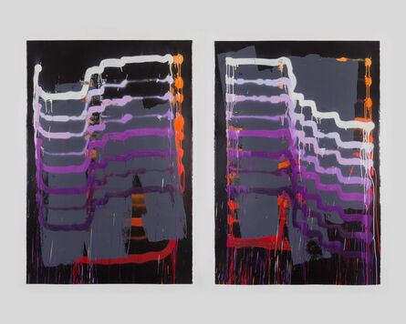 Jason REVOK, 'InstrumentExercise\FrameDrag_diptych_Red/Violet/Blk_10/20', 2020