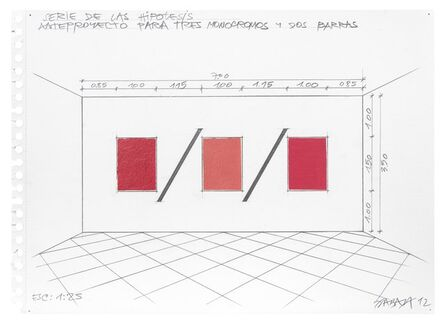 Horacio Zabala, 'Anteproyecto para tres monocromos y dos barras', 2012