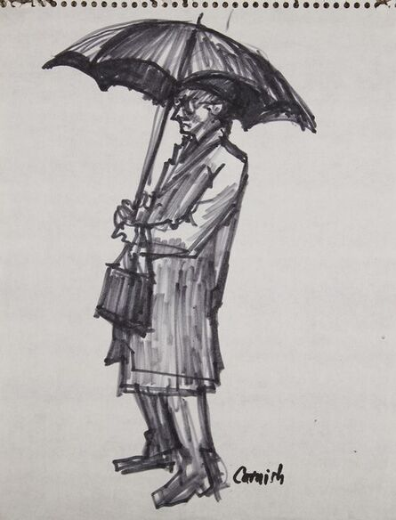 Norman Cornish, 'Man standing with umbrella '