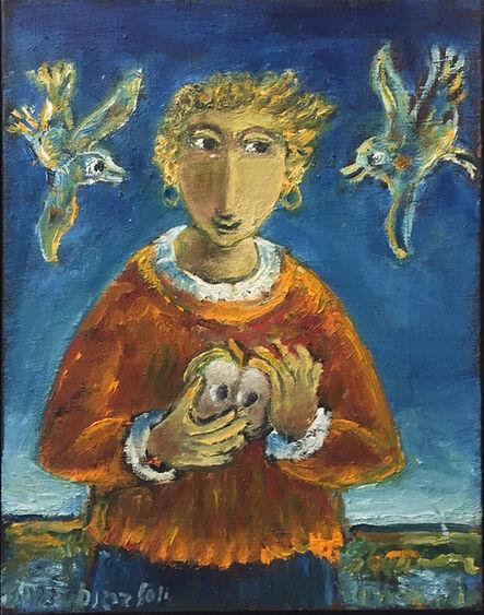 Yosl Bergner, 'Girl and two birds', 2015