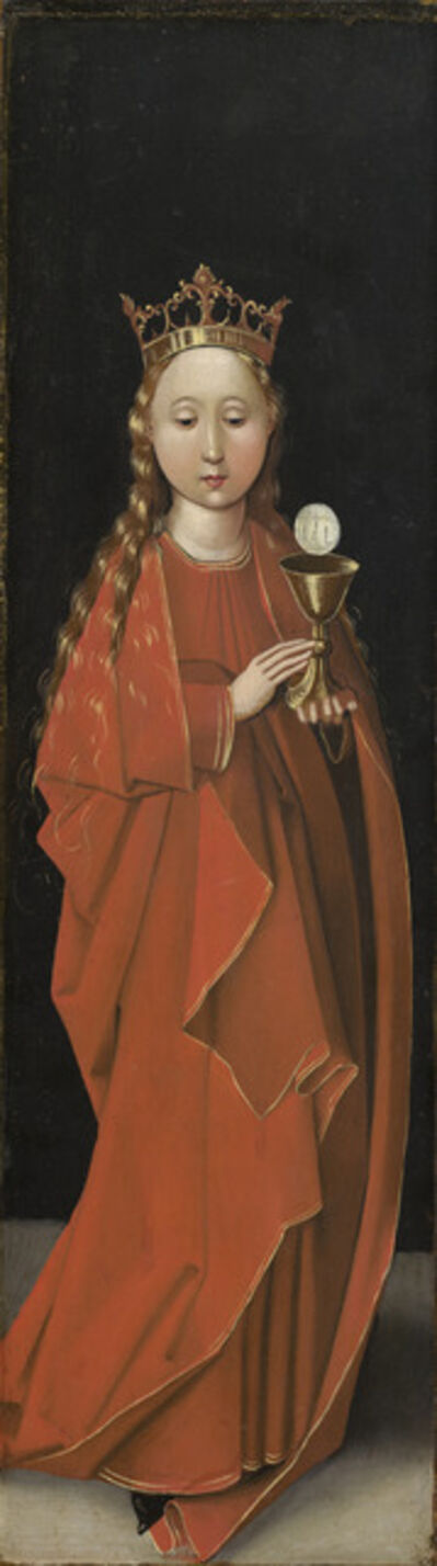 Master of the Starck Triptych, 'Saint Barbara [left wing exterior]', ca. 1480/1490