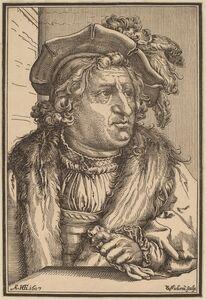 Christoffel van Sichem I after Hendrik Goltzius, 'Man with a Plumed Cap', after 1607