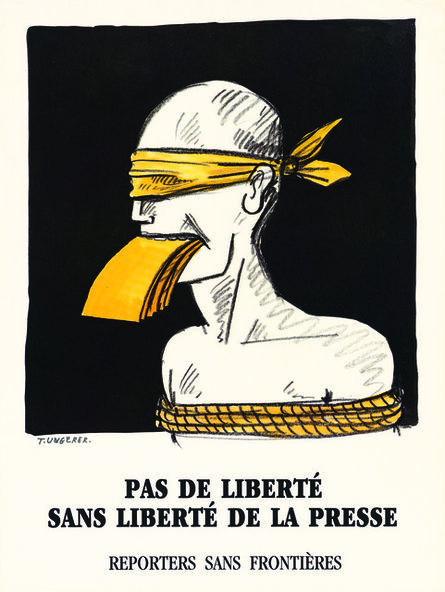 Tomi Ungerer, 'No Freedom without Freedom of the Press', 1962