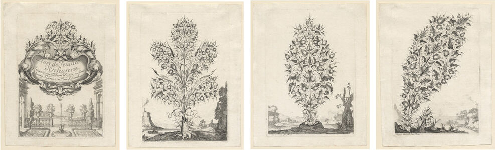 Pierre Lombard, 'Bouquets for Gold- and Silversmiths Depicted Against a Landscape Background (after designs by Gedeon Légaré)', 1640