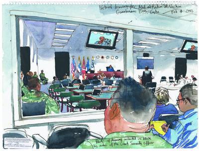 Steve Mumford, '2/4/13, Pretrial hearing for Abd al Rahim al Nashiri, Guantanamo Bay, Cuba', 2013
