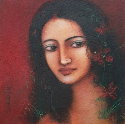 """Suhas Roy, 'Radha, Oil on Canvas, Red, Black colours by Modern Artist Suhas Roy """"In Stock""""', 2010"""