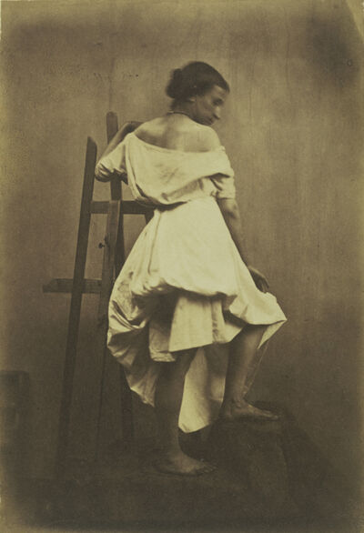 Frank Chauvassaignes, 'Model in White Dress with Easel', 1853-1857