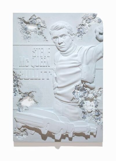 Daniel Arsham, 'Blue Calcite Eroded Bullitt Poster', 2021