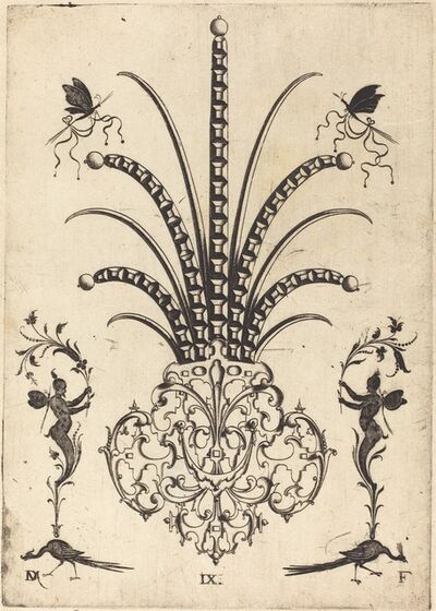 Daniel Mignot, 'Brooch with Table-Stones, Butterflies at  Top, and Peacocks and Hermes at Bottom', 1596