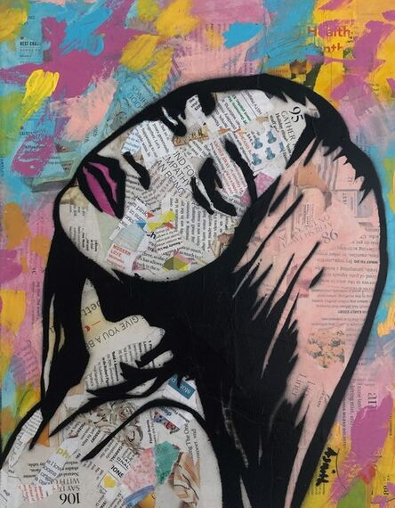 Amy Smith, 'Bold and Colorful - Street Artist Painting of Black Woman with Impressionist Background in Pink + Yellow + Gold + Blue', 2019