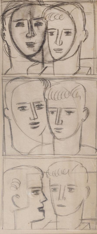 Keith Vaughan, 'Study of six male heads', ca. 1950