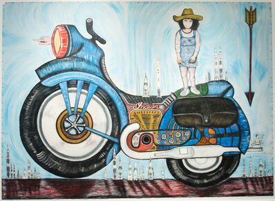 Jerry Beck, 'Indian, Motorcycle, and Bruce Lee Girl', 2014