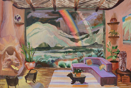 Johnny DeFeo, 'Taos Adobe with O'Keefe Painting Agnes Martin Rug and Coyote Fireplace', 2020