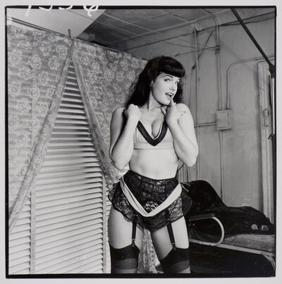Weegee, 'Bettie Page (with lace garter belt, front)', ca. 1955/1980s