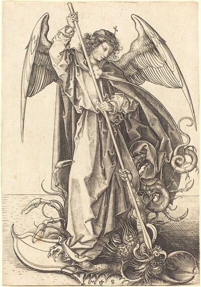 Martin Schongauer, 'Saint Michael Slaying the Dragon', ca. 1480/1490