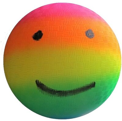 "Rob Pruitt, '""Rainbow Gradient Emoji Kickball"", 2018, Painted Kickball, UNIQUE', 2018"