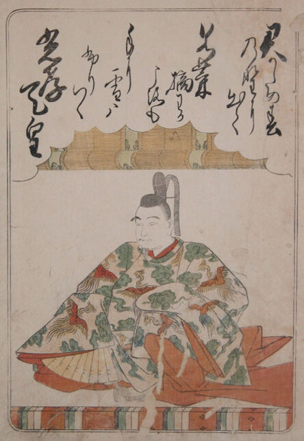 """Katsukawa Shunsho, 'The Emperor Koko: """"Out in the field of spring I go  To gather young herbs for your sake,  But now, alas, here comes the snow,  To wet  my coat-sleeves with its flakes.""""', 1775"""