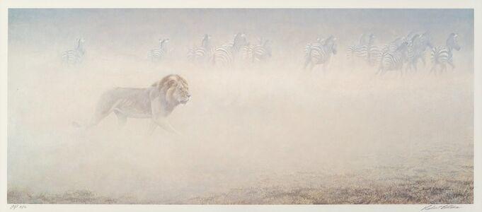 Robert Bateman, 'Lion and Zebras'